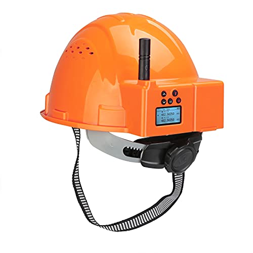 Retevis RA16 Vented Hard Hat with Light,Safety Helmet,Walkie Talkie for Adults,Handsfree,Emergency Alarm,Two Way Radio for Construction,Factory(Orange)