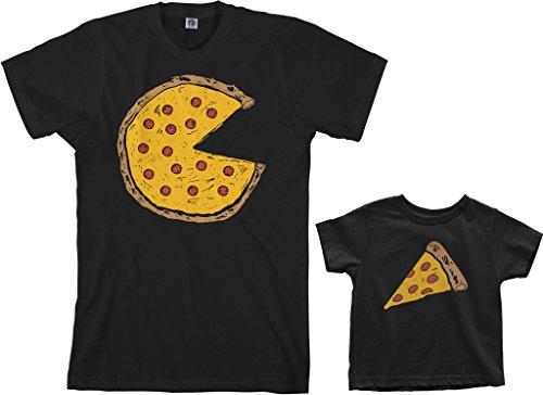 Threadrock Pizza Pie & Slice Toddler & Men's T-Shirt Matching Set (Toddler: 4T, Black|Men's: L, Black)