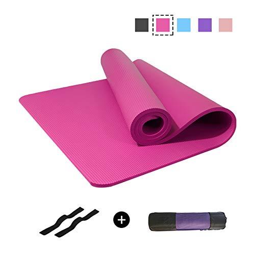 Uu-focus Hohe Dichte Nbr Extra Dick Yogamatte, Es Ist Ideal Für Fitness Yoga, Extra Breit Reißfeste Gymnastikmatte, Mit Tragegurt Und Tasche-Rose 185x80cm-10mm