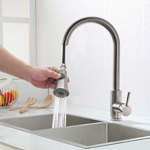 Faulkatze 360° drehbar Küchenarmatur ausziehbar Wasserhahn Küche mit 2 Strahlarten Brause Spültischarmatur Edelstahl Mischbatterie Armatur Küche, Matt