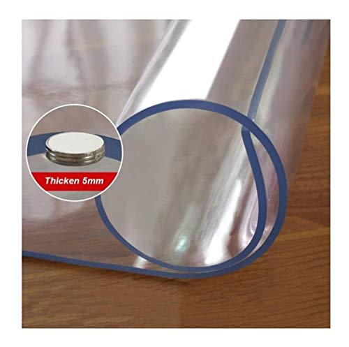 LIUDINGDING-zheyangwang 5mm Clear PVC Tablecloth Waterproof Soft Glass Transparent Table Protector Cover (Color : 5mm, Size : 80x180cm)
