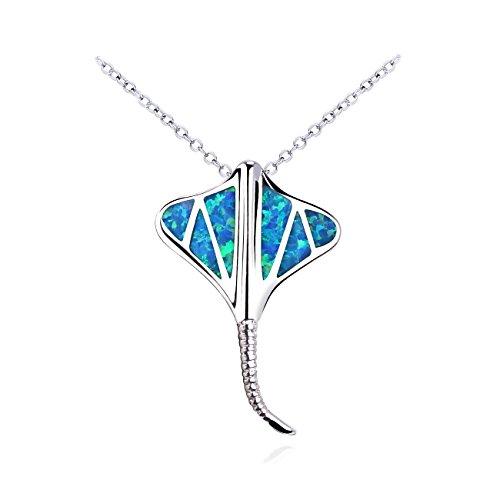 KELITCH 2020 Manta pez Rayo mar Animal ópalo Colgante Collar 925 Plata Cadena Collar joyería Collar con ópalo Regalo de cumpleaños