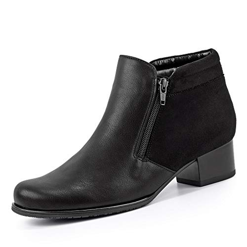 Jenny 22-63660 Catania Damen Stiefelette aus Lederimitat 35-mm-Absatz Weite H, Groesse 38, schwarz