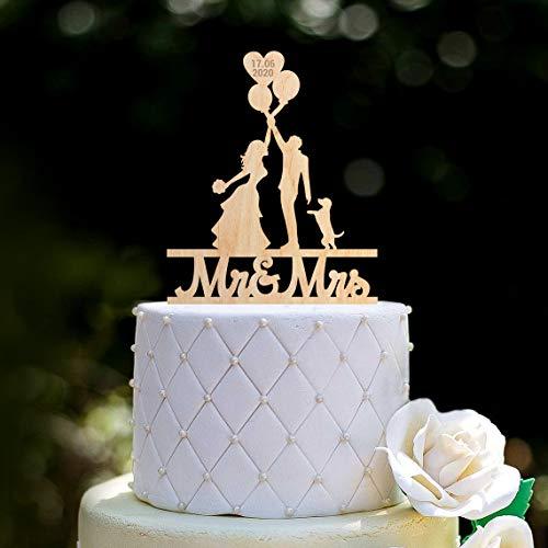 Ballonnen mr en mrs Bruiloft Cake Topper met hondje Ballon mr en mrs Cake Topper dogBalloons Bruiloft mr mrs Hond Cake topper0270