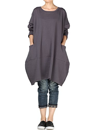 Vogstyle Damen 2017 Neue Langärmelige Tunika Tops mit Zwei Seite große Taschen Kleid Dunkelgrau M