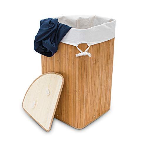 Relaxdays Eckwäschekorb Bambus, faltbare Wäschebox 60 l, platzsparend, Wäschesack Baumwolle, 65 x 49,5 x 37 cm, natur