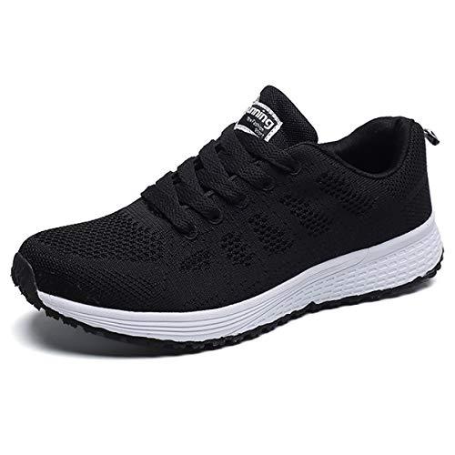 JIANKE Femme Baskets de Course Homme Chaussures de Sports Running Fitness Sneakers Basses Noir 43 EU(Taille de l'étiquette 44)