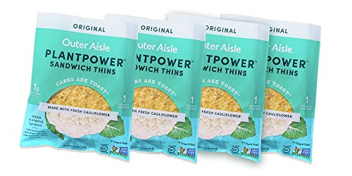 Outer Aisle Gourmet Cauliflower Sandwich Thins | Keto, Gluten Free, Low Carb Cauliflower Bread | Original Sandwicher 4 pack | 24 Thins
