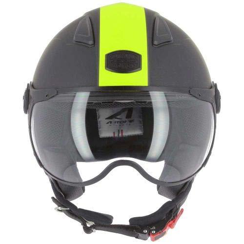 Astone Helmets - Casque jet KSR 2 graphic - Casque de moto léger - Casque de moto compact - Casque de scooter - matt black yellow L