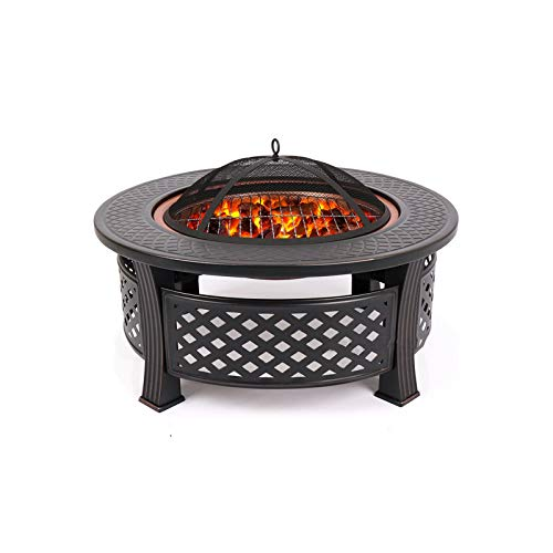CJSWT Outdoor Fire Pit,Wood Burning Patio & Backyard Firepit for Outside,Mesh Spark Screen