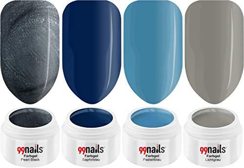 99 Nails Gel UV coloré Set – Cold Winter 4er Pack (4 x 5 ml) gelnägel Kit Ongles UV Set fabriqué en Allemagne