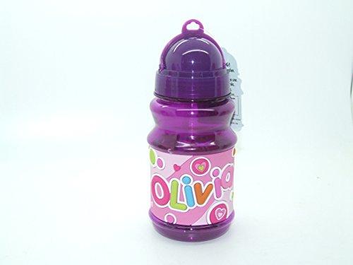 OLIVIA - Botella con tapa abatible para bolsas de almuerzo de 16 cm de altura, con tapa libre de BPA que sella la paja por lo que es perfecta para bolsas de almuerzo de 16 cm de altura. Ten en cuenta que los nombres de las botellas no se pueden cambiar, el nombre que recibirás está en el título
