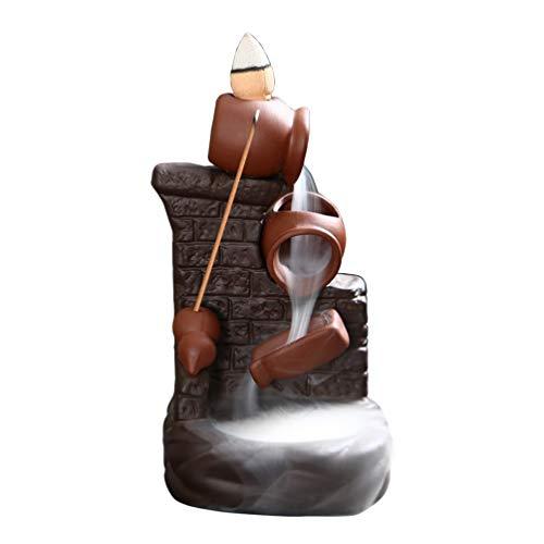 Incenso de refluxo de cerâmica Exceart Queimador cachoeira suporte ornamento aromaterapia decorações de casa