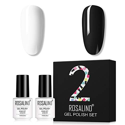 ROSALIND 2pcs Esmaltes Semipermanentes de Uñas en Gel UV LED, Kit de Esmaltes de Uñas de Negro Blanco Rosa Desnudo 7ml (Set2)