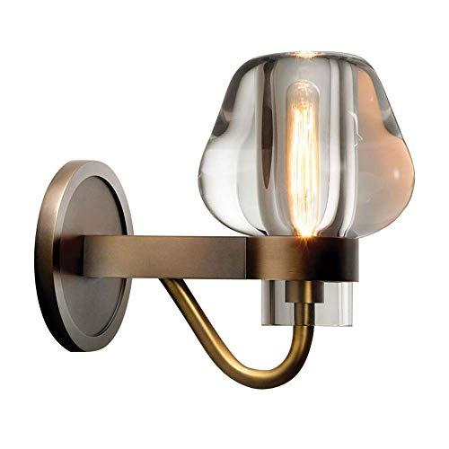 BDwantan Lámpara de pared retro de cobre nórdico posmoderno para invitados, restaurante, estudio, dormitorio, villa, distancia de 216 x 130 x 180 mm