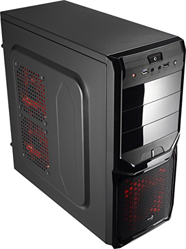 Aerocool EN57332 Advance Midi-Tower PC-Gehäuse (ATX, 3X 5,25 Externe, 4X 3,5 interne, USB 3.0) schwarz