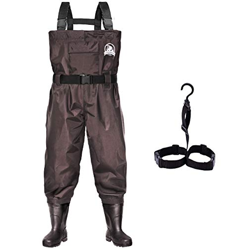 UPGRADE Fishing Chest Waders for Men and Women with Boots,2-Ply Nylon/PVC Waterproof Lightweight Wading & Hunting Bootfoot Wader - Brown, Men 12