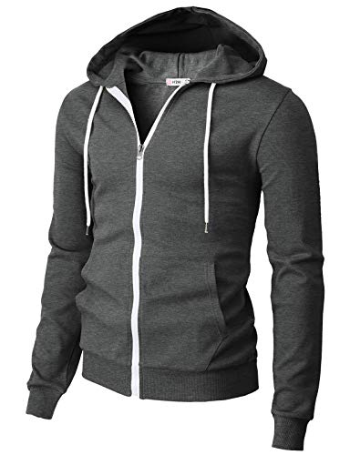 H2H Mens Casual Basic Long Sleeve Zip Up Hoodie Jacket Charcoal US L/Asia XL (CMOHOL048)