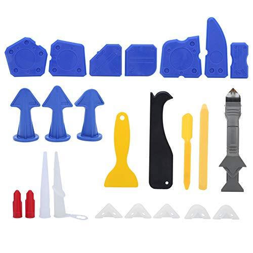 de 24 piezas Kit de herramientas de acabado de calafateo, aplicadores de boquilla de calafateo de acero inoxidable, herramientas de construcción para cocina, baño y ventana