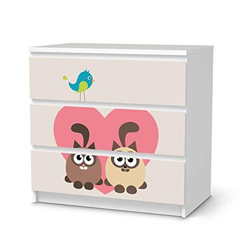 creatisto Möbel-Tattoo für Kinder - passend für IKEA Malm Kommode 3 Schubladen I Tolle Möbelsticker für Kinderzimmer Einrichtung I Design: Cats Heart