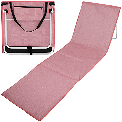 Strandmatte mit Rückenlehne 157x52 Webmuster mit Farbwahl Strandliege Liegematte Strand Liege Sonnenliege (Lachs)