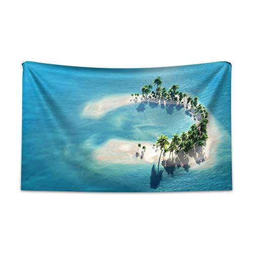 ABAKUHAUS Insel Wandteppich & Tagesdecke, Atoll-Palmen-Ozean, aus Weiches Mikrofaser Stoff Für den Wohn & Schlafzimmer Druck, 230 x 140 cm, Elfenbein Grün Blau