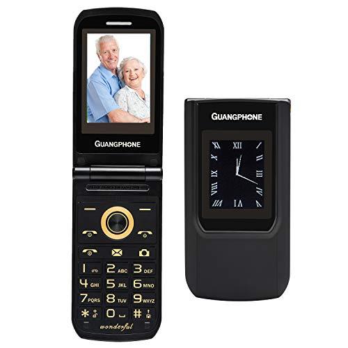 Teléfono Móvil para Personas Mayores Teclas Grandes con Tapa Flip Senior Fácil de Usar Celular para Ancianos, Pantalla de 2,4 Pulgadas y Pantalla Externa de 1.77 Pulgadas (A)