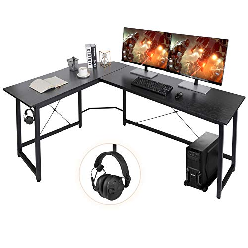 "AuAg Modern L-Shaped Home Office Desk 66"" Sturdy Computer PC Laptop Table Corner Desk Workstation Larger Gaming Desk Easy to Assemble 66.5"" x 47.5"" x 29.3"" (Black)"
