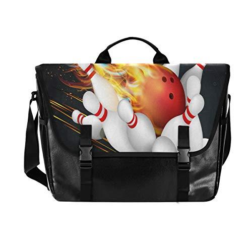 ALARGE Laptoptasche, Messenger Bag, Buring Sport, Bowlingball, Canvas, Computer-Aktentasche, Reisetasche, Tragegriff mit Schultergurt, 38,1 cm