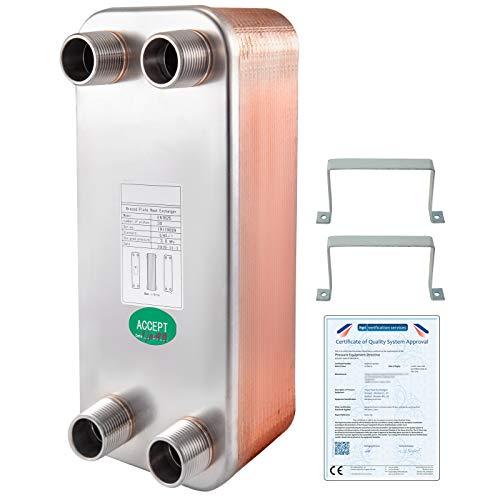 VEVOR Intercambiador de Calor de 30 Placas para Calefacción Adecuado para La Industria HVAC Industria Láctea/Alimentos/Bebidas, Industria de Refrigeración, Etc