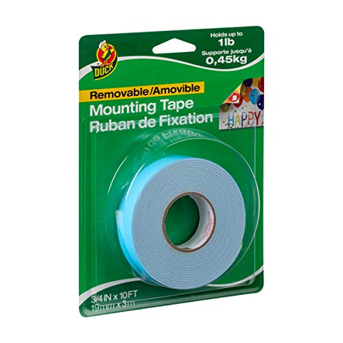 Duck Brand Removable Foam Mounting Tape, 3\4in x 10ft, Single Roll, White (1098147)