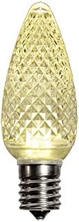 25 Pack Warm White C9 LED Replacement Bulbs Faceted Warm White LED Christmas Light Bulb 5 Diodes in Each Bulb Fits E17 Socket Commercial Grade Indoor and Outdoor Use