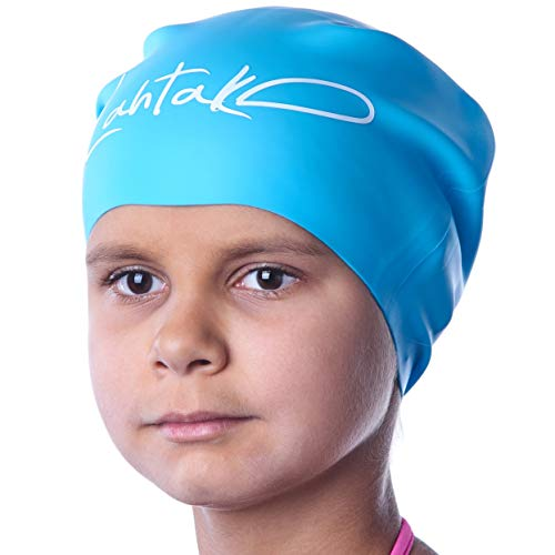 Swim Caps for Long Hair Kids - Swimming Cap for Girls Boys Kids Teens with Long Curly Hair Braids Dreadlocks - 100% Silicone Hypoallergenic Waterproof Swim Hat (Aqua Blue, Small)