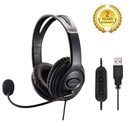 USB Headset with Noise Cancelling Microphone and Volume Control for Call Center PC Chat Skype Dragon Nuance Voice Recognition Speech Dictation