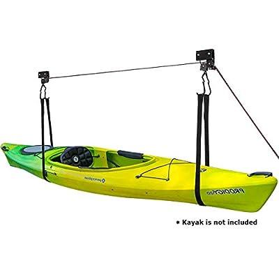 Mind and Action Kayak Hoist Lift Garage Storage, 100lbs Working Capacity, 3 Pulley System, BikeHoist Hanger forLadder, Canoe, Paddleboard.
