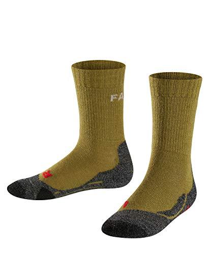 FALKE Kinder TK2 Trekking Socken, wadenlange Wandersocken mit Merinowolle, 1 er Pack, Grün (Aspengreen 7702), 23-26