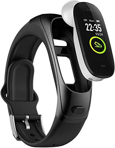 Reloj inteligente de 0.96 pulgadas IPS Color pantalla Bluetooth Music Headset Combo Multi-función separada en tiempo real recordatorio llamada pulsera para Android e iOS Classic