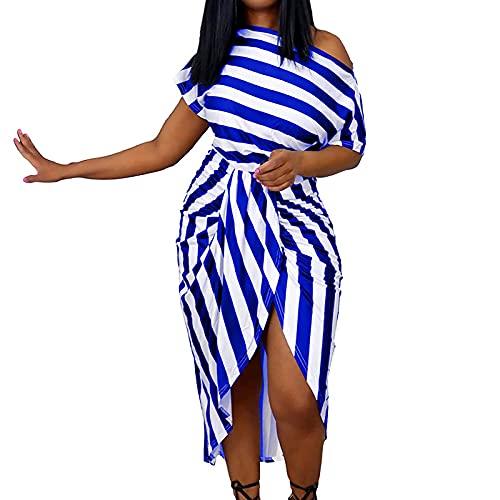 Modieuze damesjurk met losse gestreepte schouderbandjes, hoge taille, korte mouwen, met onregelmatige bandjes, cocktailjurk, blauw, XL