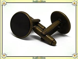 2 gemelli polsino bottoni resina nero ottone bronzo 14mm regalo personalizzato natale compleanno matrimonio uomo amico cop...