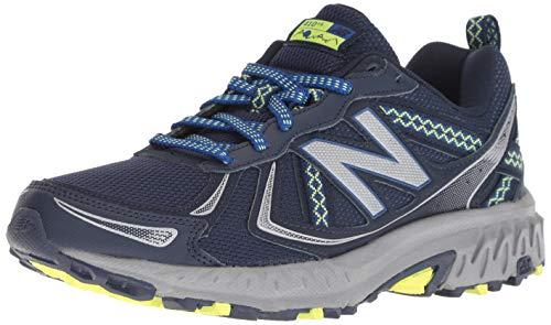 New Balance Women's 410 V5 Trail Running Shoe, Pigment/Team Royal/Solar Yellow, 5.5 D US