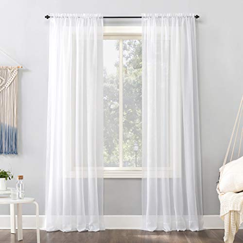 """No. 918 Emily Voile Sheer Rod Pocket Curtain Panel, 59"""" x 120"""", White"""