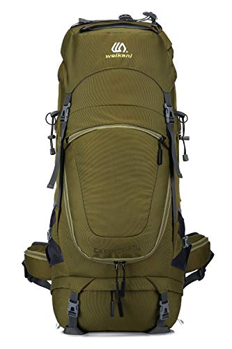 Weikani Internal Frame Hiking Backpack 60L/80L with Rainfly Suitable for Travel Hunting Camping Mountain (Green-80L)