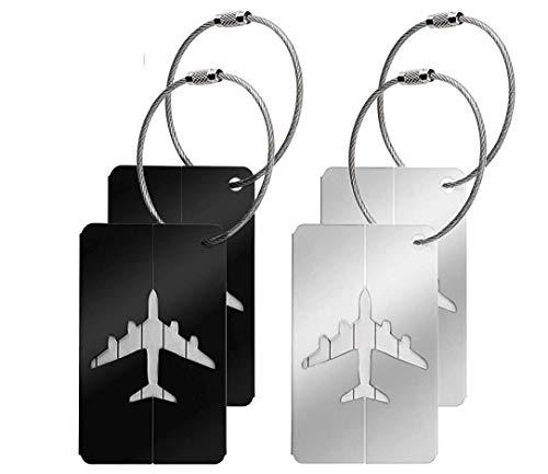 Canotagio Set de 4 Identificadores de Maletas de Viaje. Identificadores de equipaje de Aluminio para…