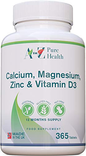 A to Z Pure Health Calcium, Magnesium, Zinc & Vitamin D 365 Tablets | Multimineral with Calcium Supplement & Immune Booster | Made in The UK