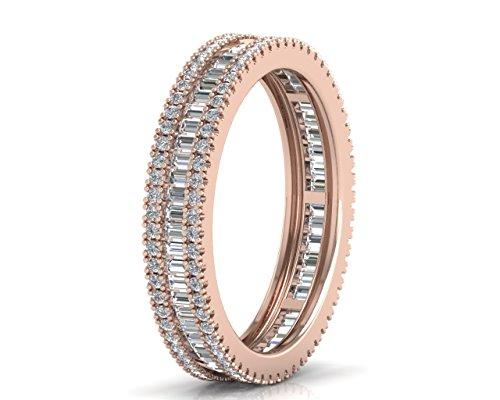 Ehering 1,10 Karat Baguette- und runder Brillantschliff-Diamant, erhältlich in Gold und Platin (18 Karat Rotgold, M)