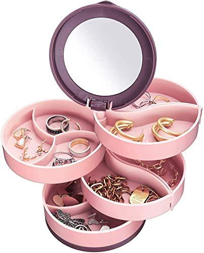CTTPEG Caja organizadora de 4 capas con rotación de 360 °, caja organizadora para anillos, collares, pulseras, pendientes, regalo para niñas, madres, mujeres (rosa)