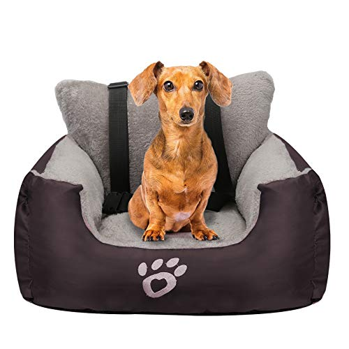 FAREYY Dog Car Seat for Small Dogs or Cats, Pet Booster Seat Travel Car Bed with Storage Pocket and Clip-On Safety Leash, Waterproof Warm Plush Dog...