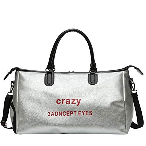 Gyubay Travel Duffel Bag Single Shoulder Letter Duffel Bag Large Capacity Leather Travel Fitness Travel Bag for Traveling Business Trip (Color : Silver, Size : 51x29x18cm)