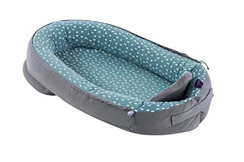 Träumeland Home - Das atmende Nest mit hochwertiger Matratze und luftdurchlässigem Gewirke, Design: Ozeanblau