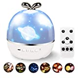 Night Light Projector for Kids, 6 Films Projection Kids Night Light, Star Ceiling Projector for Bedroom with 360 Degree Noiseless Rotating/Timer/Remote Control-Baby Birthdy/Festival Gift